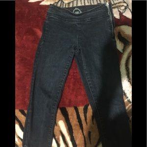 Side zipper dark blue denim jeans w ankle zips
